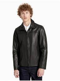 calvin klein outerwear mens wing collar leather jacket black asc vicenza