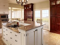 stunning traditional kitchen with almond gold granite countertop inset cabinets chandelier breakfast bar with glass inset