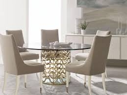 valera 7pcs new contemporary dining room gold round glass top table chairs set