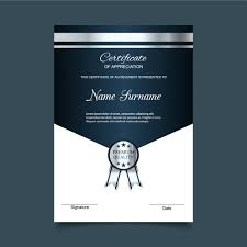 Certificate Of Appreciation Free Download Blue And Silver Certificate Of Appreciation Template Vector Free