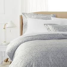 pinzon paris printed egyptian cotton sateen duvet set king light gray