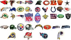 NFL, National Football league team logo patches. <b>Embroidered iron</b> ...