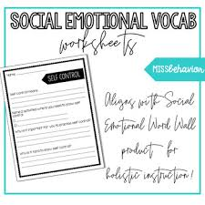 Vocab Building Worksheets Social Emotional Vocabulary Worksheets Sel Words