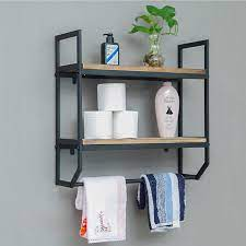 Amazon Com Mdepyco 23 6 Industrial Metal Bathroom Shelves Wall Mounted 2 Tier Rustic Towel Rack With Towel Bar Wall Shelf Over Toilet Utility Storage Shelf Rack Floating Shelves Towel Holder Black 23 6 L Kitchen Dining