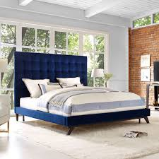 King And Queen Decor Tov Furniture Eden Tufted Headboard Queen Bed In Navy Velvet