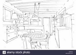 kitchen drawing perspective. Interesting Kitchen Designeru0027s Hand Drawing Interior Perspective Of A Kitchen In Black And White Throughout Kitchen Drawing Perspective