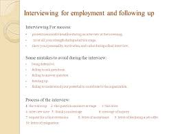 Following Up On Job Interview Interviewing For Employment And Following Up Mse608b Abdullah