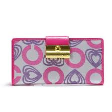 Coach Lock In Hearts Large Pink Wallets DVT larger image