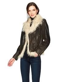 true religion women s faux fur leather moto jacket xs