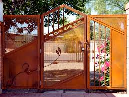 Rusted corrugated metal fence Unpainted Gates And Fencing By She Said Rusted Metal Gates And Fencing By She Said Metal Art Gates
