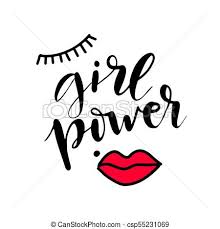 Girl Power Text Feminism Slogan Black Inscription For T Shirts