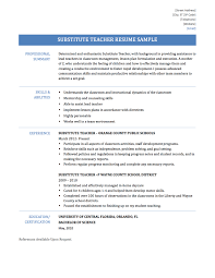 Enchanting Resume For Substitute Teacher Skills In Substitute