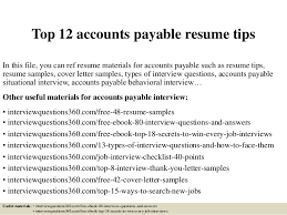 Accounts Payable Resume Delectable Top 28 Accounts Payable Resume Tips