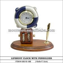 wooden life buoy desk clock with penholder desktop clock office decor business gifts
