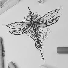 тату эскиз стрекоза и лотос эскиз нарисован в стиле графика