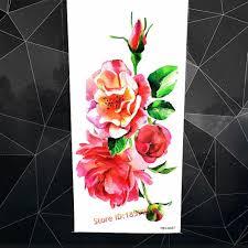 3d акварель цветок розы пион индийский поддельные временные татуировки наклейки