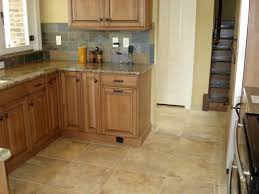 Beautiful Rustic Kitchen Floor Ceramic Tile Design Idea Feat Stone  Backsplash Also Granite Countertop