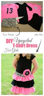 diy upcycled t shirt dress for girls