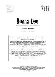 Donna Lee Chart Donna Lee For Sax Quartet By Charlie Parker Digital Sheet