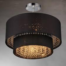 hazel 6 light chrome indoor black fabric crystal chandelier with shade