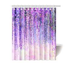 Mypop Wisteria Flowers Tree Home Decor Purple Violet Floral Polyester Fabric Shower Curtain Bathroom Sets With Hooks 60 X 72 Inches Walmart Com Walmart Com