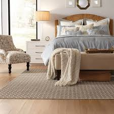 in the bedroom there are two looks that work well the rug extended about 36 from each side and the foot of the bed or 36 from each side of the bed