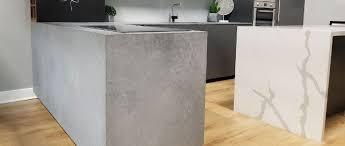 rugged concrete floating peninsula countertops made of a caesarstone