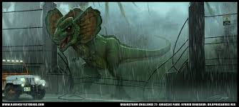 Image result for dilophosaurus rex roaring