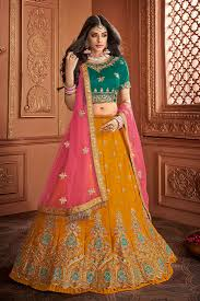 Lehenga Design In Yellow Colour Virasat Tantalizing Yellow Colour Silk Designer Wedding Wear Lehenga