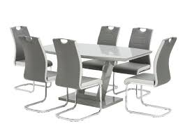 grey high gloss dining table with six chairs