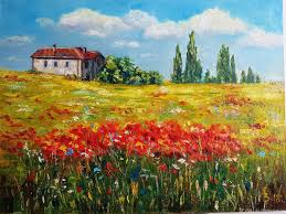 landscapes handmade livemaster handmade in the fields of poppies oil painting