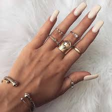 Tocona 4pcs/Set Moon Star <b>Circle</b> Opening Midi Knuckle Rings Set ...