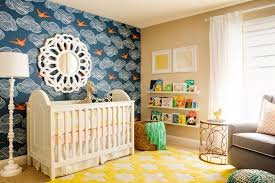 bird wallpaper in blue and yellow nursery