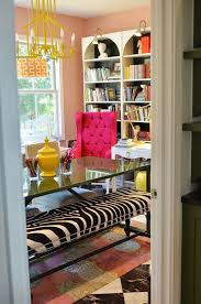 colorful office decor. colorful office i love the pink chair glass table and zebra striped bench decor