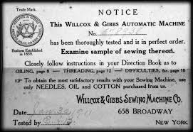 Willcox And Gibbs Sewing Machine Manual