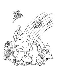 Small Picture Coloring Page For Kids With Rainbow Printable Free Coloring