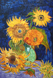 vase with five sunflowers oil painting reion canvas by vincent van gogh