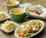 baked chicken and rice with three soups