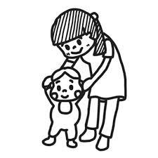 歩く練習をする先生と幼児のイラスト 白黒ヤギさん フリー素材イラスト