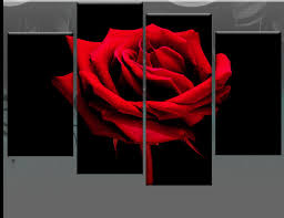 black rose canvas wall artred flower simple colorful grey wallpaper personalized large panel combination into one