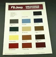 Buy Jeep 80 Jeep Models Exterior Paint Chart