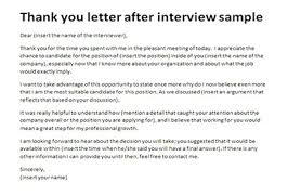 Thank You Letter After Interview Sample Appreciation Letter With
