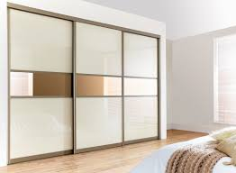 three piece of mirrored sliding wardrobe doors with white panel accent and grey aluminium frame on white bedroom wall