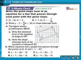 parallel and perpendicular lines lesson 4 4 splash screen ppt
