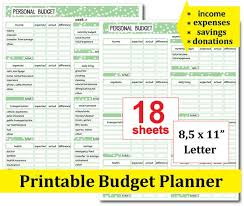 Monthly Finance Planner Printable Monthly Budget Template Financial Planner Bill Etsy