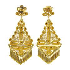 indian style 18k gold filigree chandelier earrings cleo