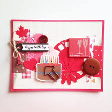 Red Collage Birthday Card