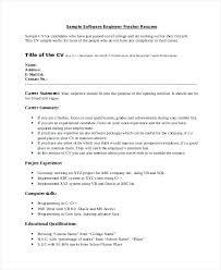 Cv Formatting Software Engineer Fresher Resume Sample Development
