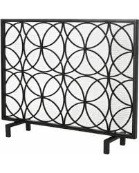 iron fireplace screen. Veritas Single-Panel Iron Fireplace Screen, Black Screen