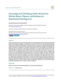 Whole Brain Child Chart Pdf Learning And Thinking Styles Based On Whole Brain